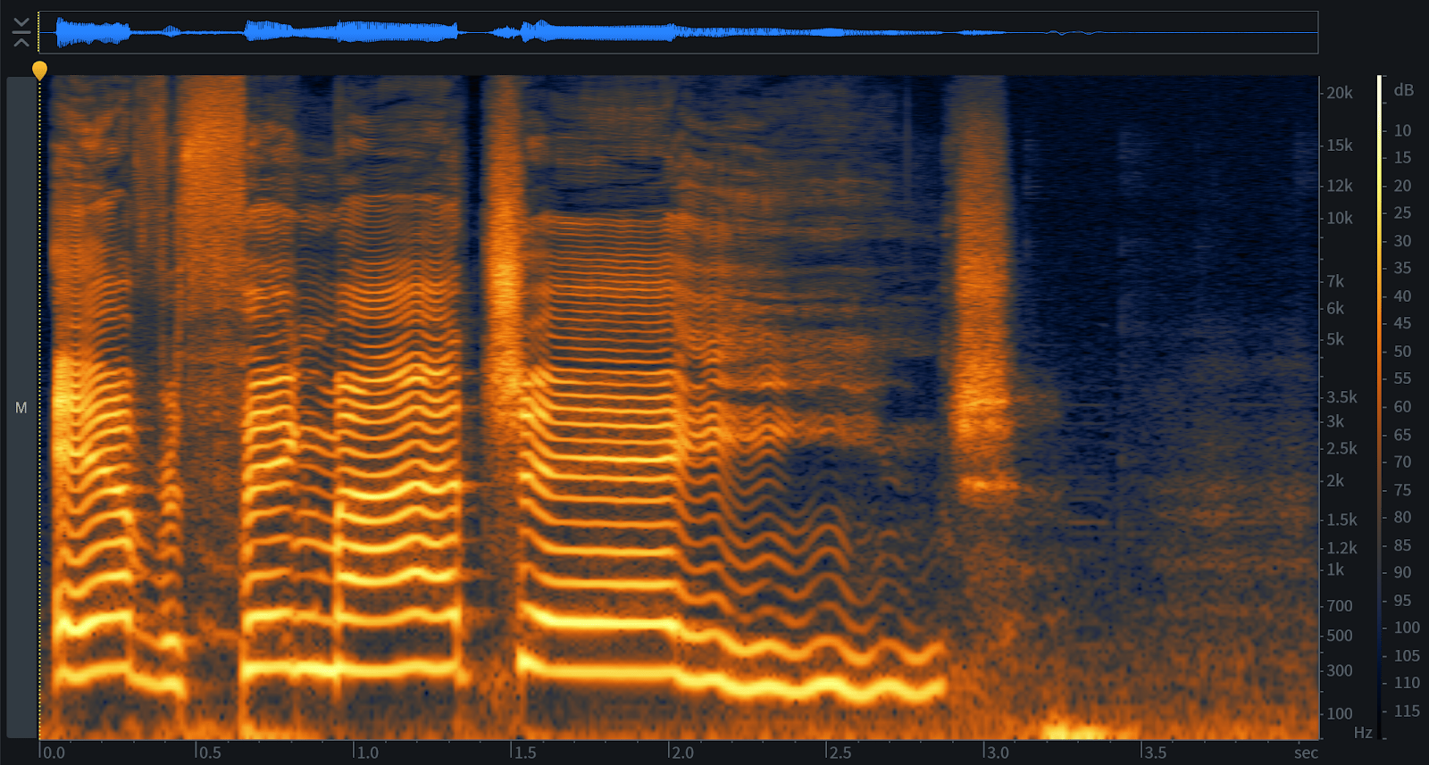 Viewing audio in the RX 7 spectrogram