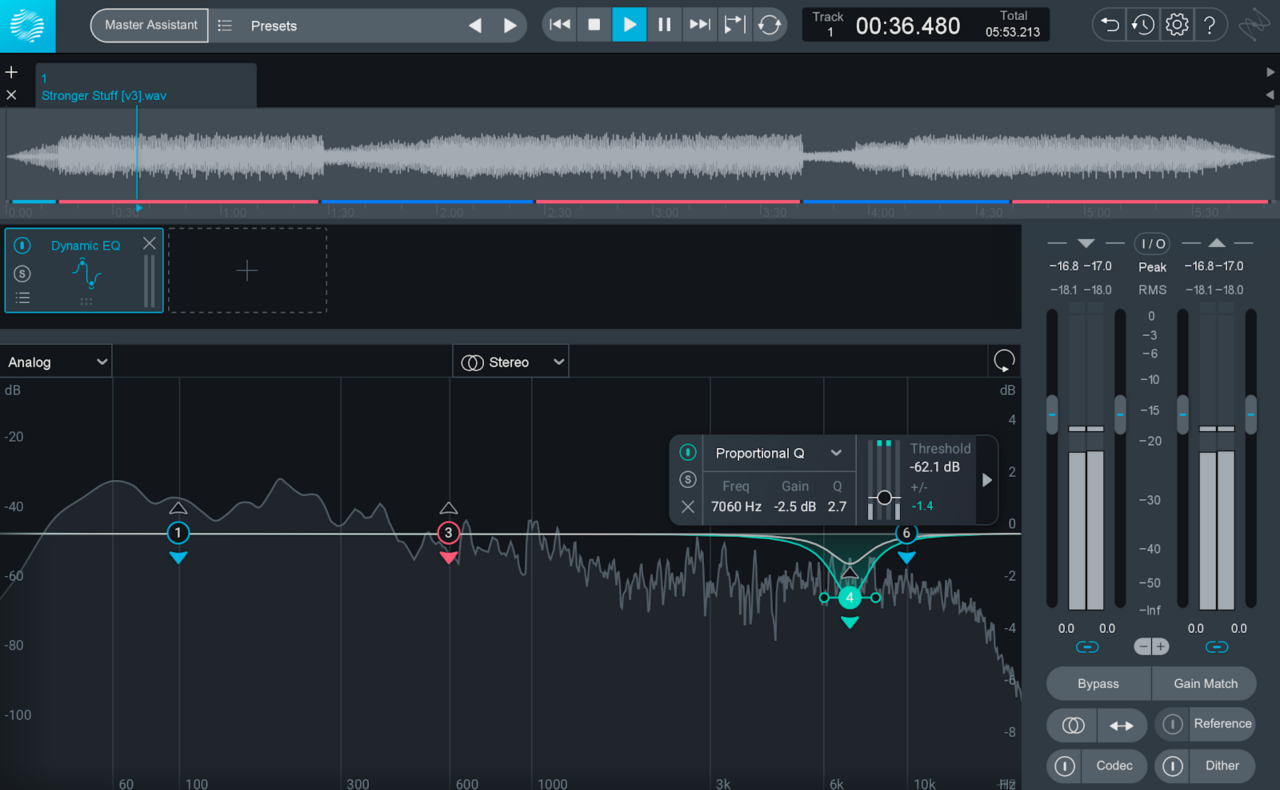 Using the mid/side and Dynamic EQ modules in Ozone to de-ess