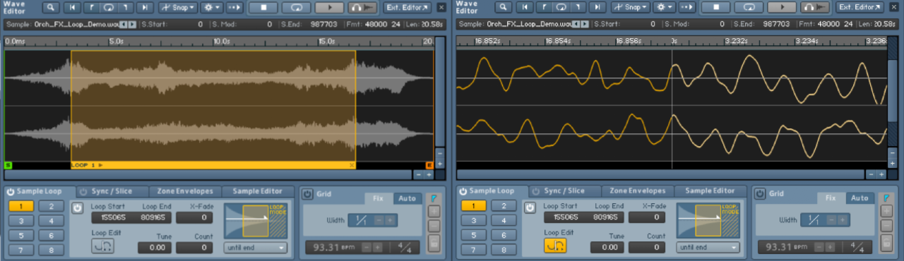 Kontakt automatically picks up the loop points of my audio files.