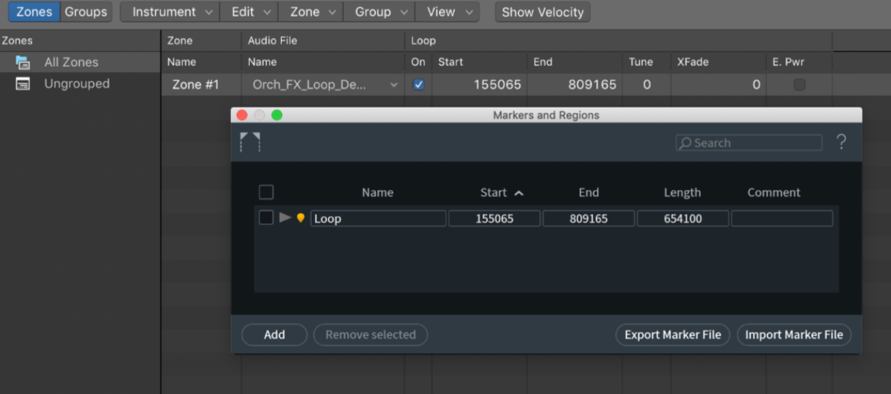 Logic Pro X can read this marker information to set loop points.