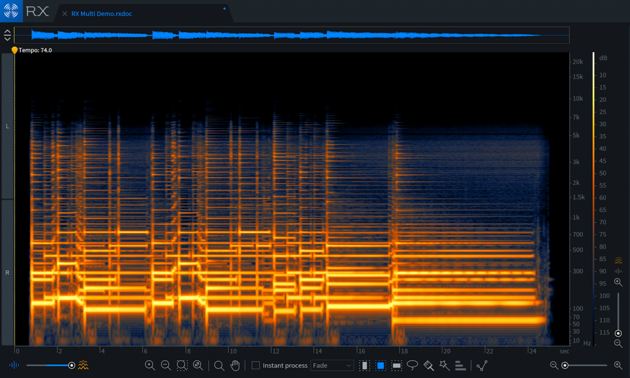 Baritone guitar Spectrogram in RX 7