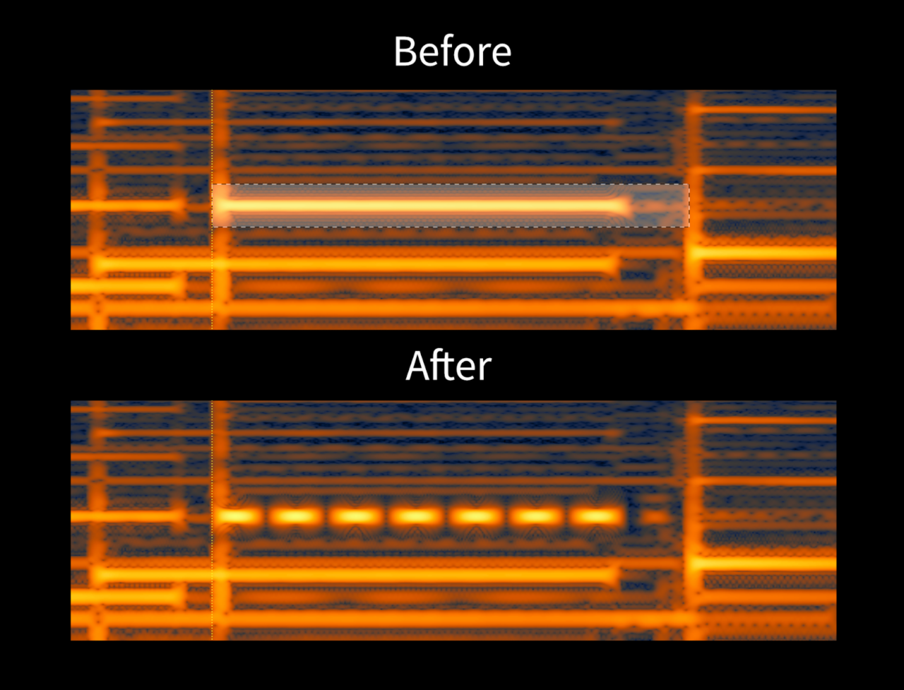 A guitar note with and without tremolo in the RX 7 spectrogram