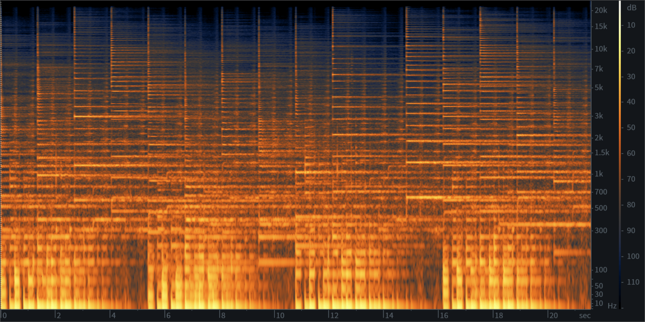 Spectrogram view of our original synth audio