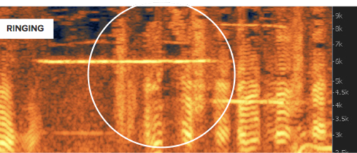 Ringing shown on a spectrogram