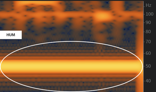 Hum shown on a spectrogram