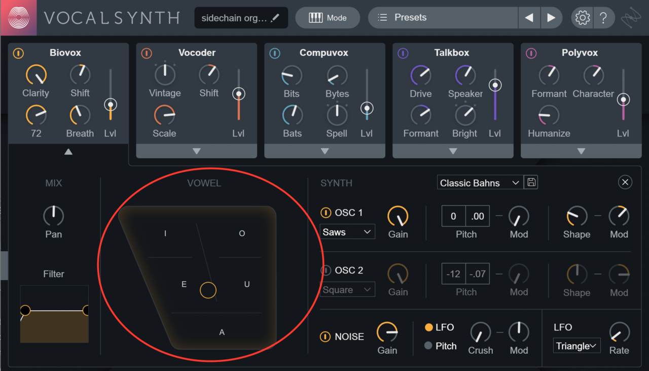 Biovox Vowel panel circled in VocalSynth 2 GUI