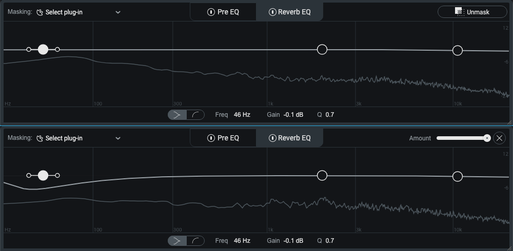 A heavy bass ringing is nicely contained with the Reverb EQ's Unmask function.