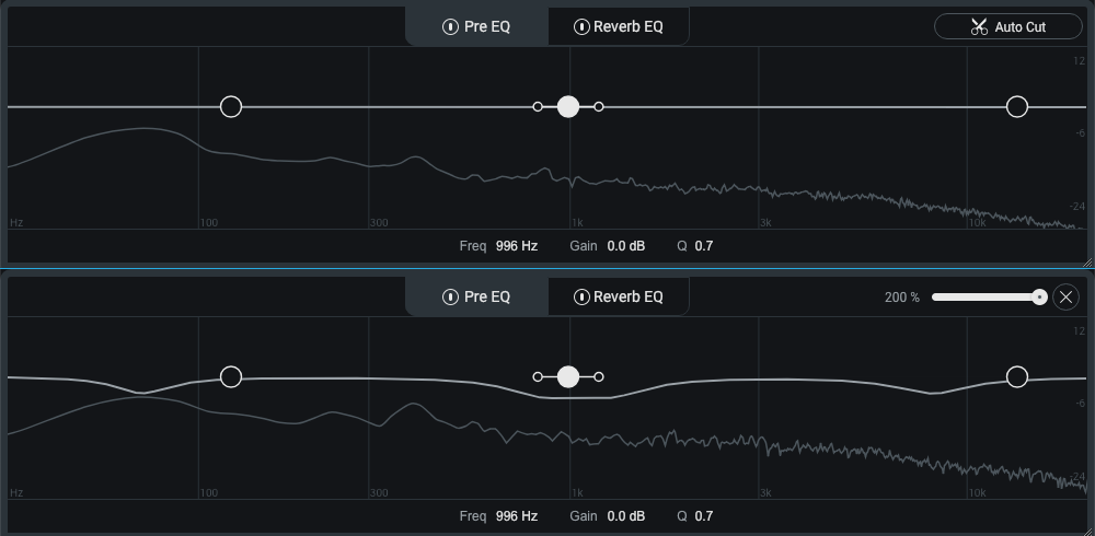 The Auto Cut function of the Pre EQ: before shown above, after shown below