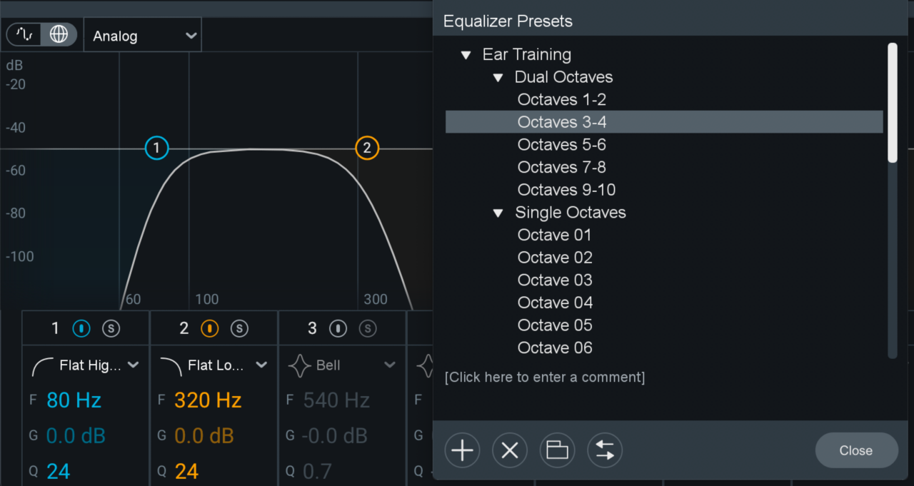 Ear training EQ presets in the Ozone preset window