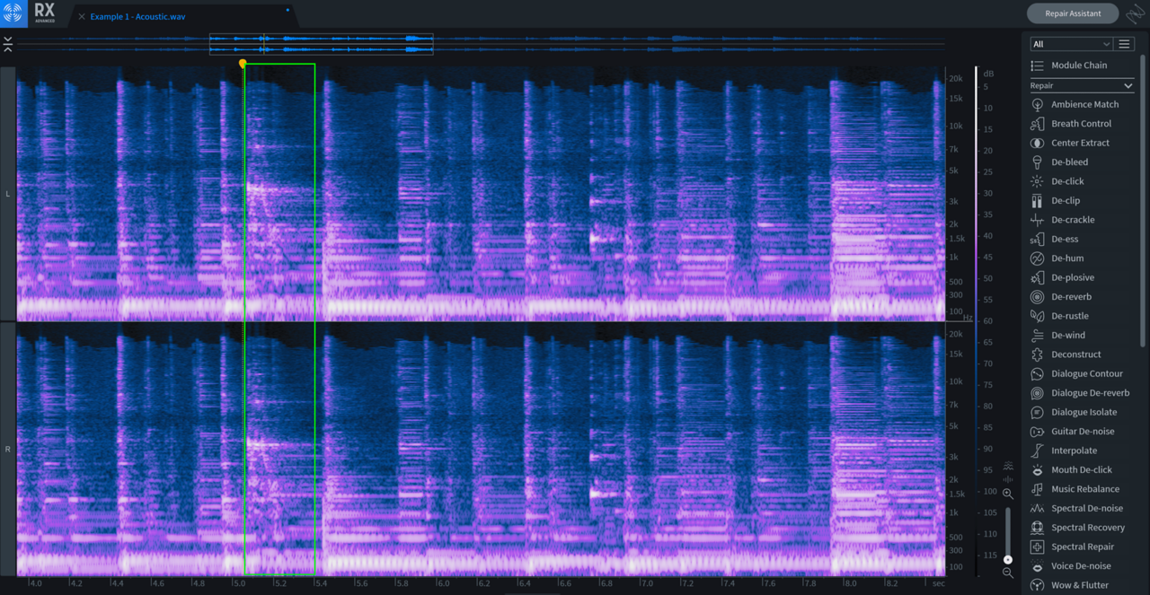 Zoomed-in view of a prominent fret squeak on RX spectrogram display