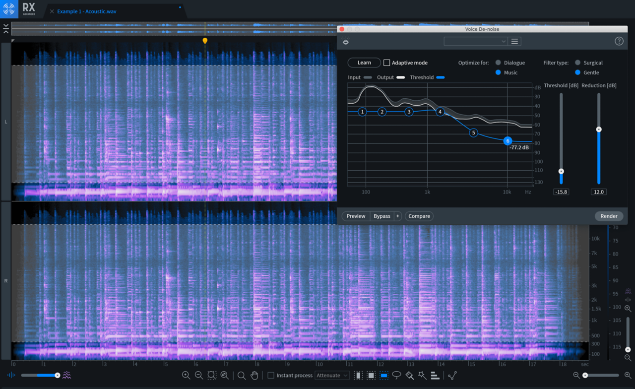 Voice De-noise learned the profile of my recording's room noise, giving me some initial settings for adding clarity to my take.
