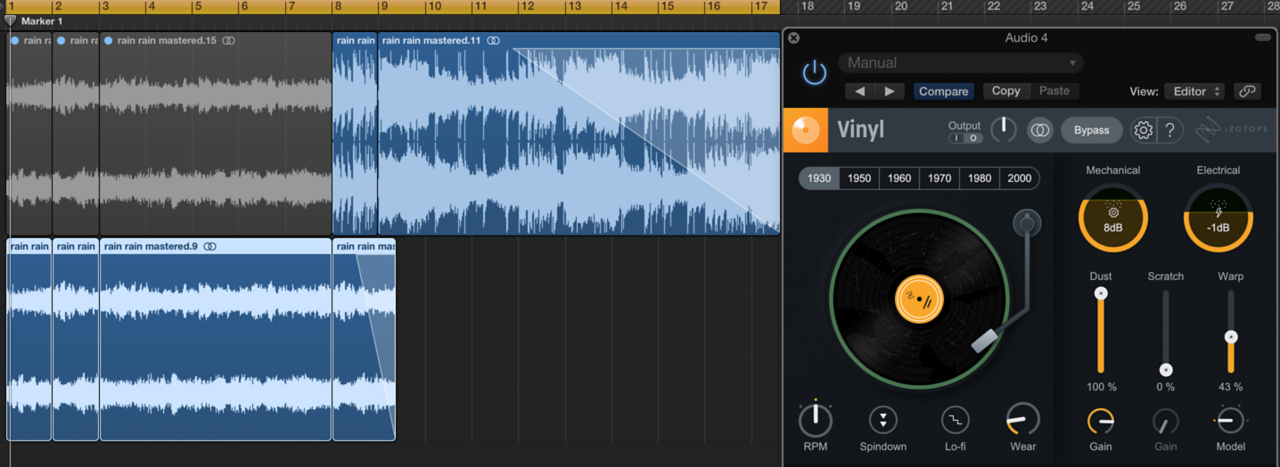 Vinyl in a Logic Pro X session