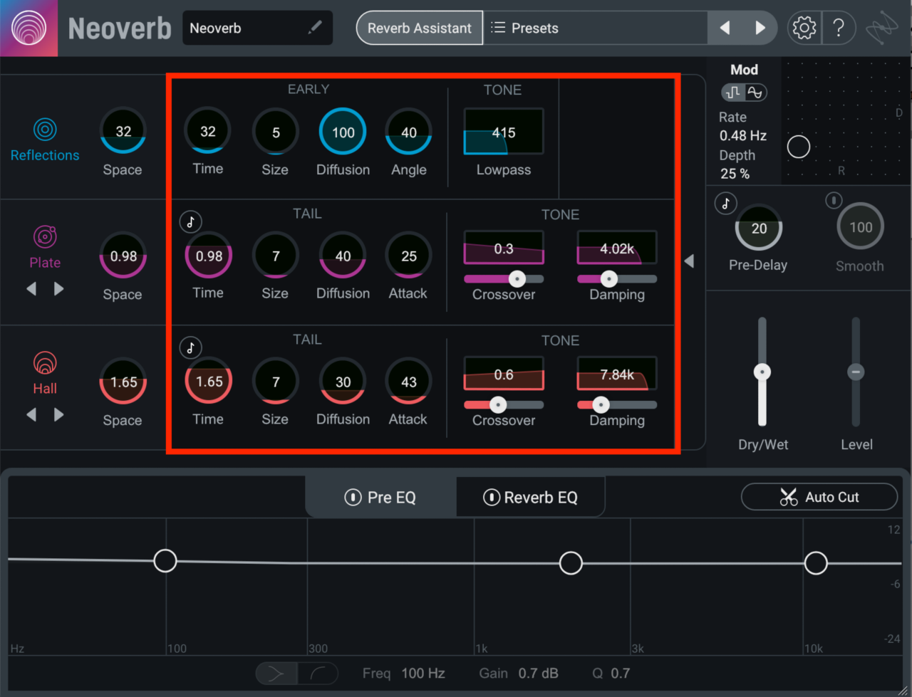 Neoverb Advanced Panel