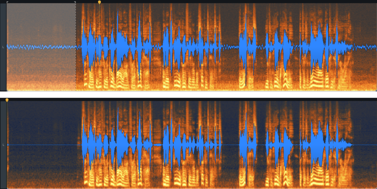 Before and after Spectral De-noise