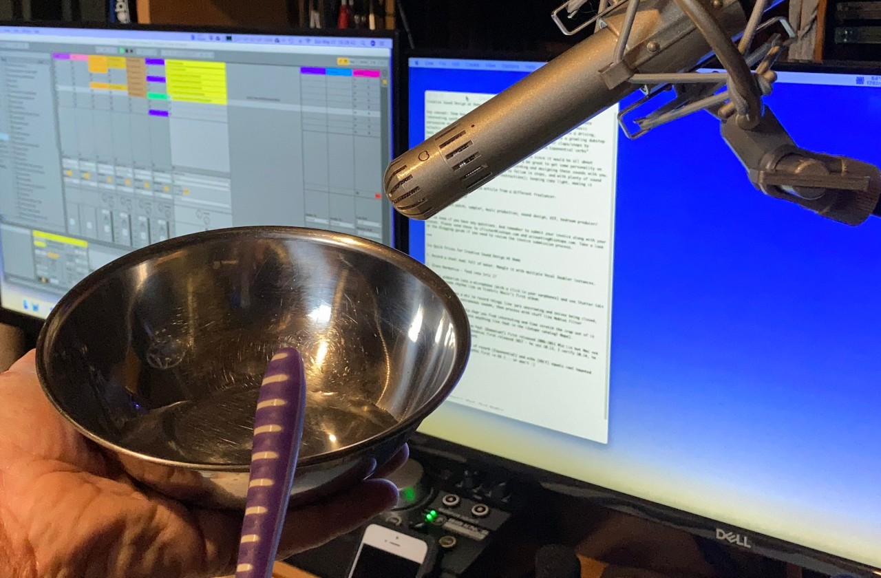 Recording striking a steel bowl with a toothbrush
