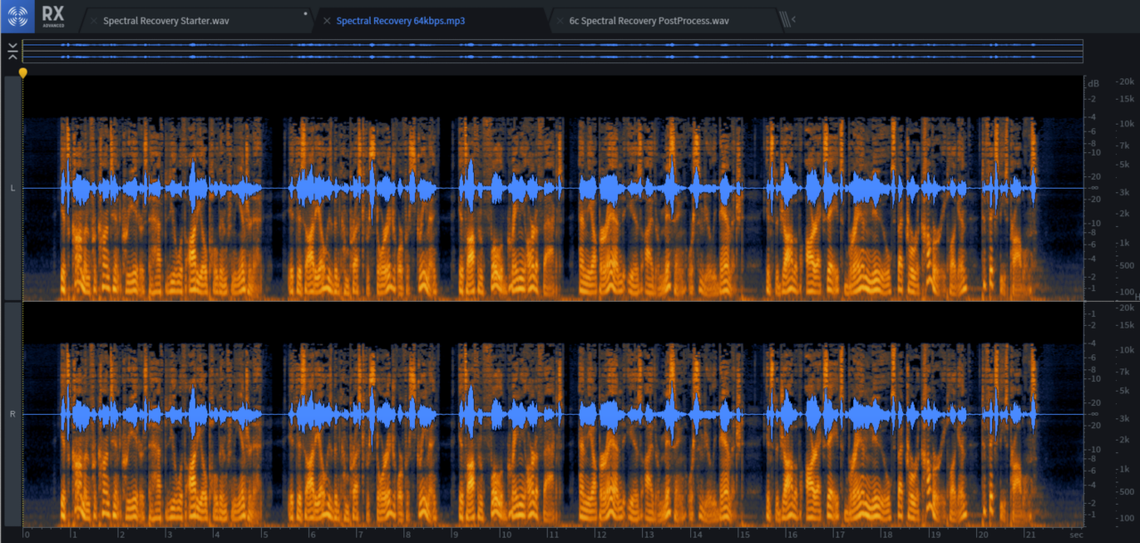 This audio file has been brutalized by lossy compression to 64 kbps MP3. Grainy high-mids, and the highs are GONE!