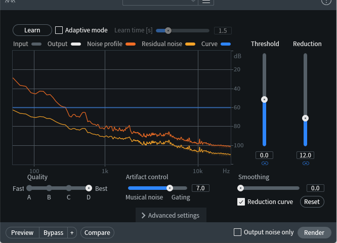 The noise profile for Spectral De-noise is chosen from the chunk of audio highlighted in the screenshot above.