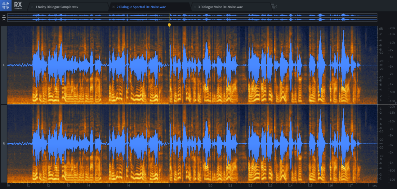 Voice De-noise kicks in halfway through the file shown above. The playback head marks the start of processing.
