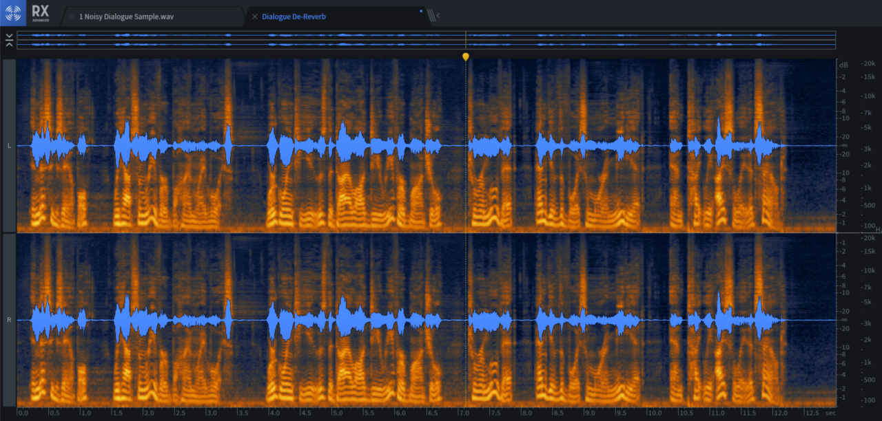Reverb is seen as 'tails' after words; they're smaller and shorter after the playback marker, where Dialogue De-reverb has done its job.