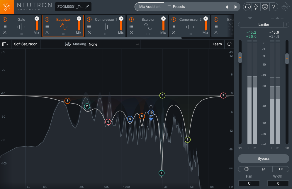 Frequency dips on the Neutron 3 EQ spectrum