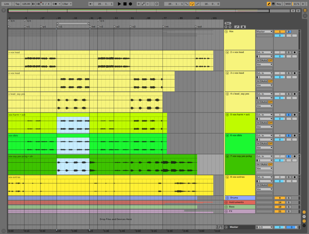 """Say Yes"" vocal tracks, with the backing vocals from the first chorus highlighted in blue."