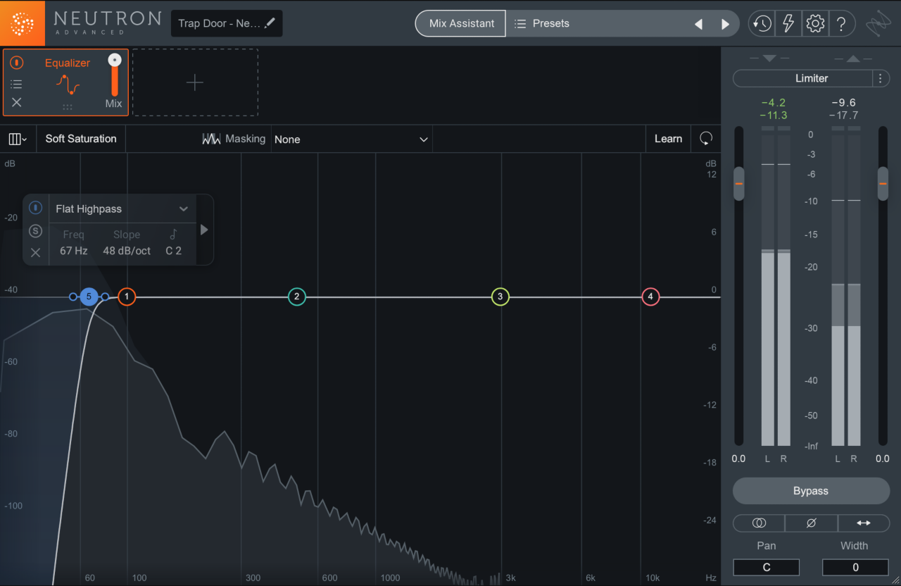Neutron 3 EQ attenuating low-end frequencies