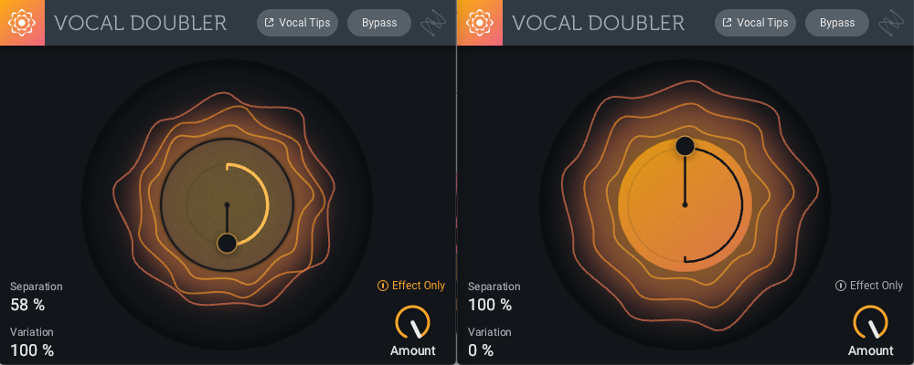 "An effect-only Vocal Doubler feeds into one where the ""dry"" signal—actually a doubled one!—is processed."