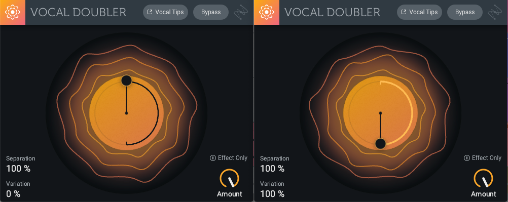 Vocal Doublers in series: first with Separation of 100, then with Variation set to 100 as well (Example 6)