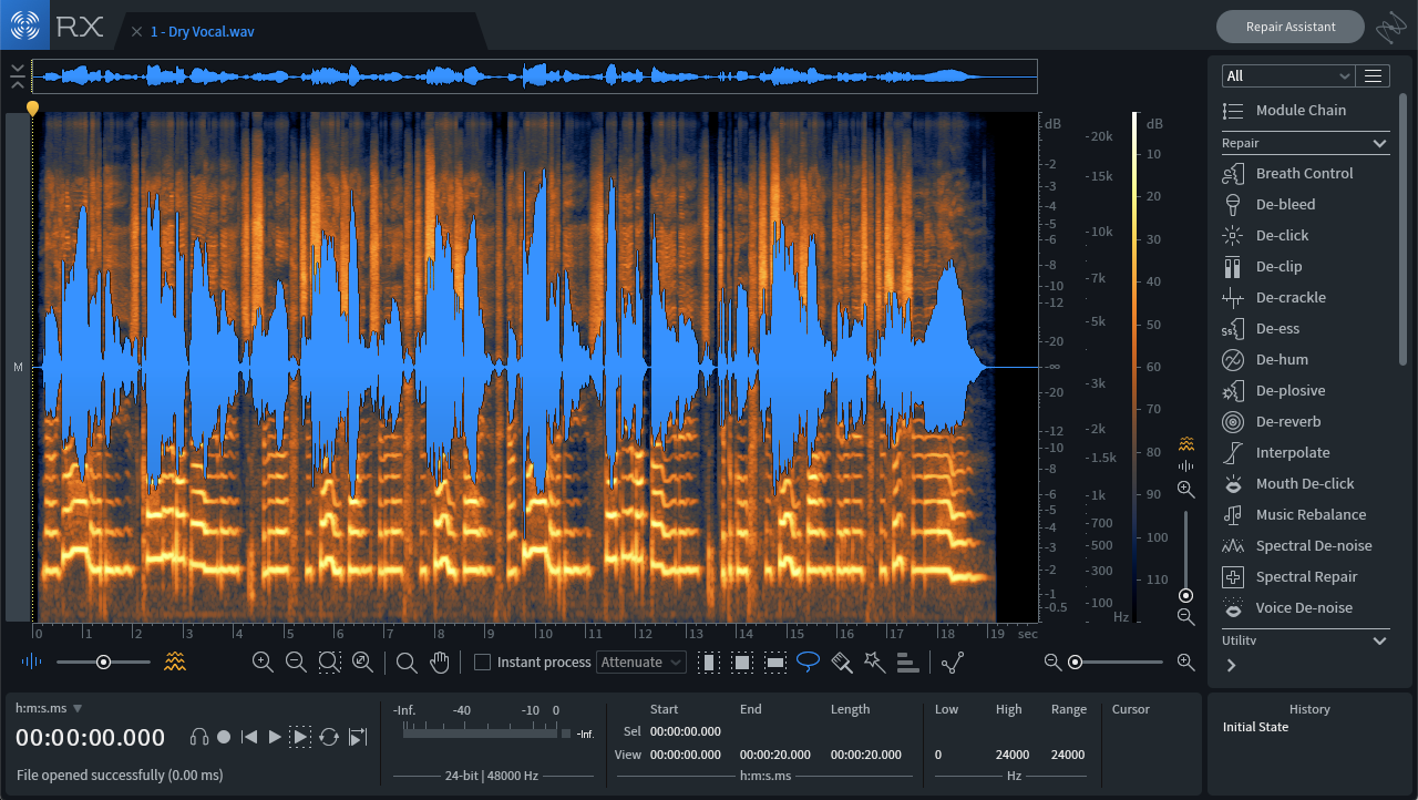 Sibilance shown in the RX 7 spectrogram view