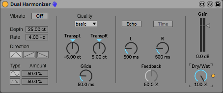 This Max device for Ableton Live is set to transpose the left and right signal up and down 5 cents, respectively.