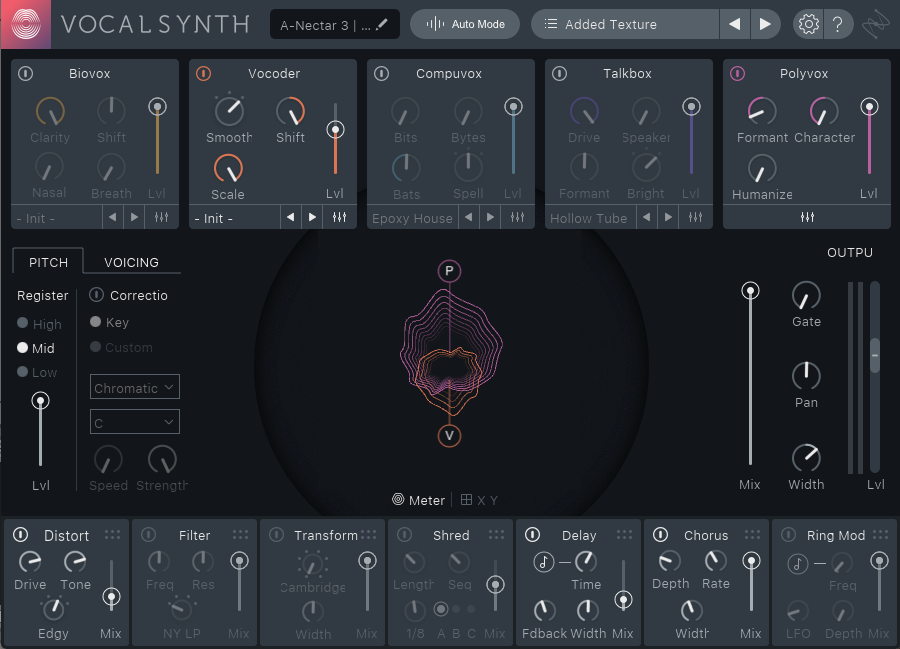 VocalSynth lets you craft unique tones using each module's individual wet/dry fader.